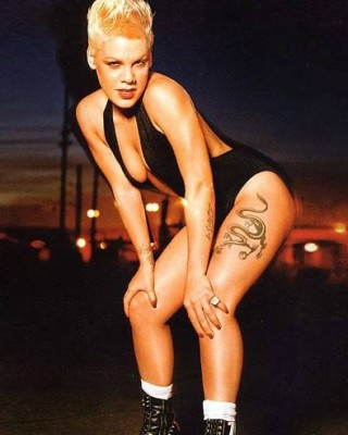 Pink's Leg Tattoos