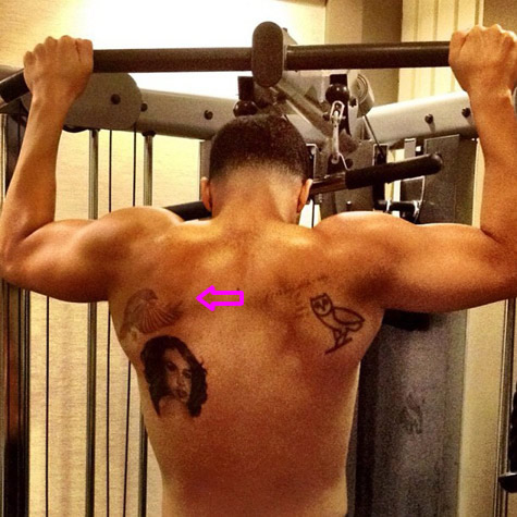Drake--back-bird-tattoo