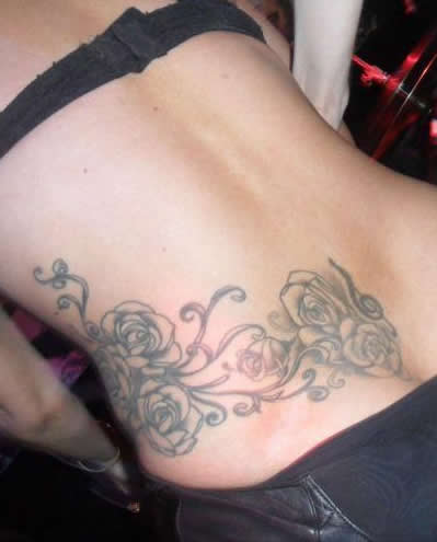 Lady Gaga's Roses Tattoo on Her Lower Back / Waist