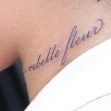 Rihanna's Neck Rebelle Fleur Tattoo