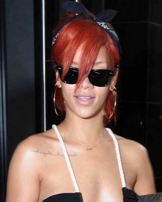 "Rihanna's Chest ""Always a Lesson, Never a Failure"" Tattoo"