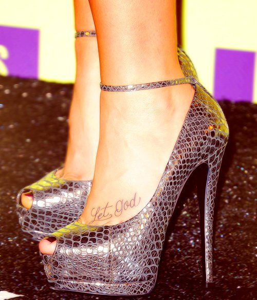 Demi Lovato Let Go and Let God Foot Tattoo