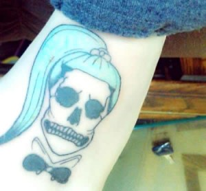 Lady Gaga Fan Skull Tattoo