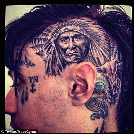 Trace Cyrus Head Tattoos