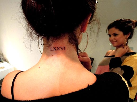 Selena Gomez's Neck Tattoo