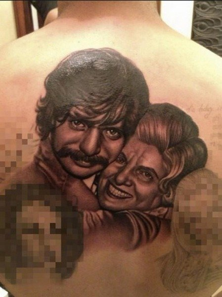 Drake's Uncle & Grandmother Family Portrait Tattoo on His Back