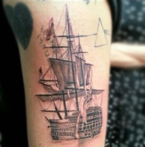 Harry Styles Ship and Pink Floyd DSOM Tattoos