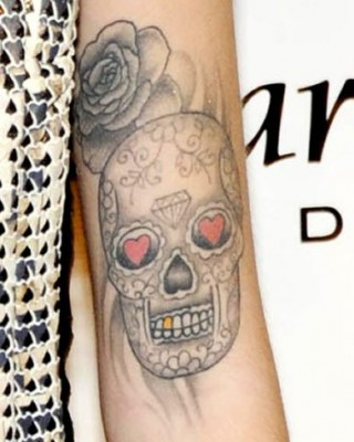 Cher Lloyd's Mexican Sugar Skull and Rose Arm Tattoos