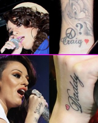 "Cher Lloyd's ""Daddy"" & ""Craig"" Tattoos With Small Hearts"