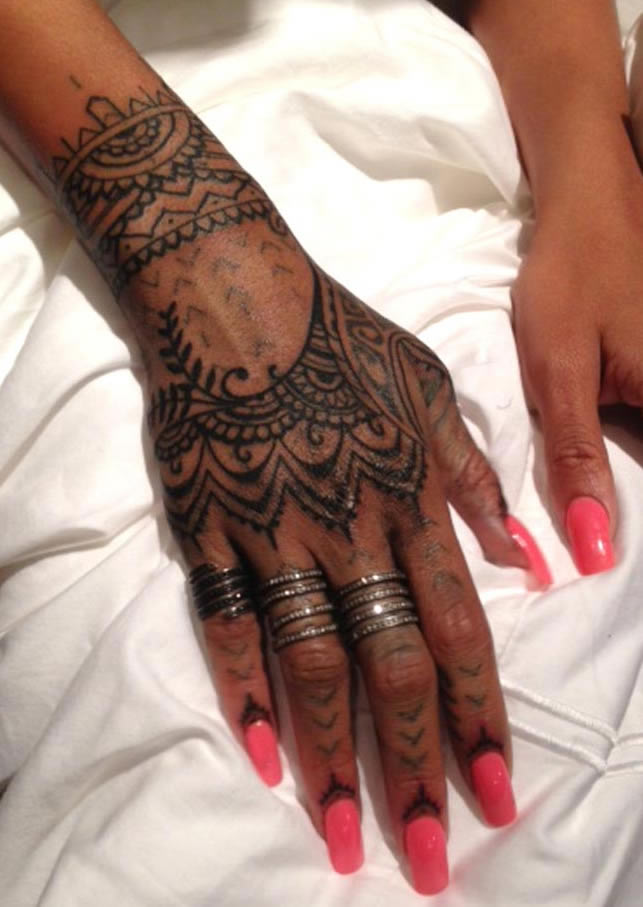 Henna Style Hand Tat on Latest Different Writing Styles