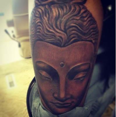 wiz khalifa leg buddha tattoo