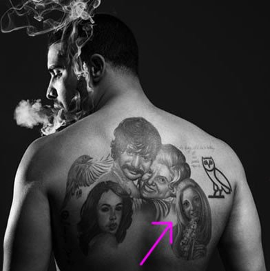 drake back tattoo