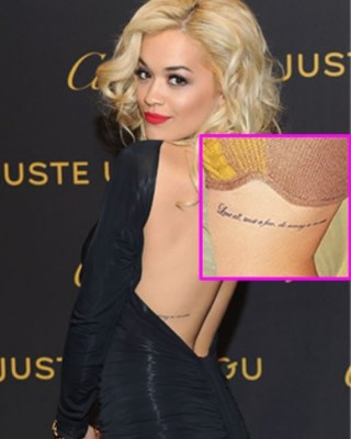 "Rita Ora's ""Love All…"" Quote Tattoo on Her Ribcage"