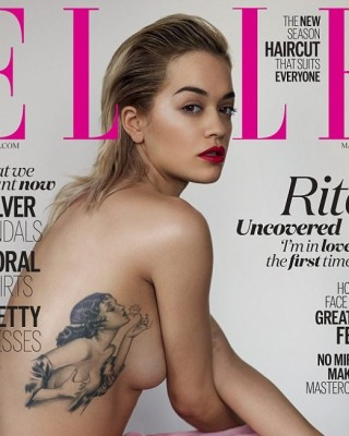Rita Ora Strips for Sexy Elle Cover, Reveals Meaning Behind Pinup Girl Tattoo