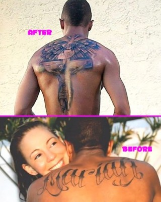 "Nick Cannon Covers Up ""Mariah"" Ink With Huge Cross Tattoo"