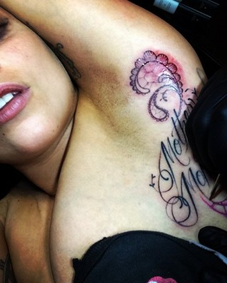 """Lady Gaga Marks The Fame Monster Anniversary With New """"Mother Monster"""" Armpit Tattoo"""