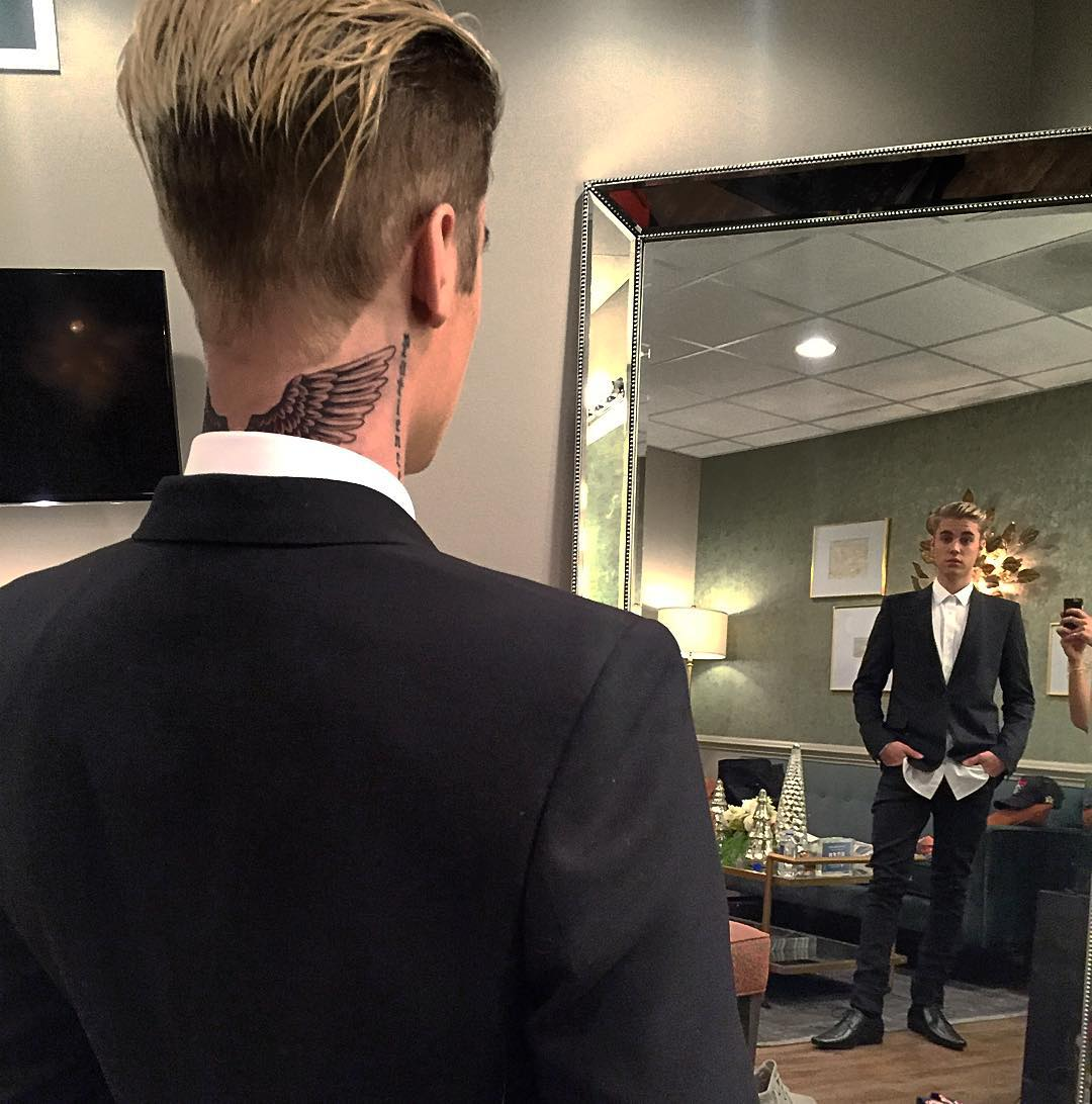 Justin Bieber Gets New Angel Wings Tattoo On The Back Of His