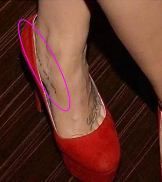 "Demi Lovato's Hidden ""Buddy Was Here"" Foot Tattoo"
